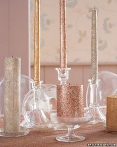 holiday, decor, idea, crafti, candles, glitter candl, diy, christma, parti