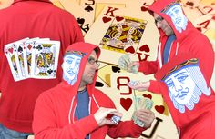 Flip the hood up on our King of playing cards Whoodie and watch the people at the Casino go crazy! If your favorite poker hand is Kings then this hoodie is a must have. The Actual King head from any standard deck of cards is printed in full color High Resolution on both sides of the hood. The back of this Whoodie features the 4 Kings from all suits fanned out.