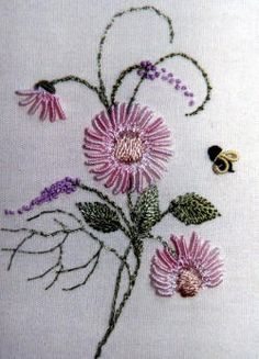 Brazilian Dimensional Embroidery Kit Mini Lazy Daisy Lavender and Bee