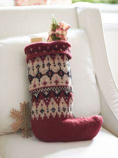 Fair Isle Stocking, free Knitting Pattern