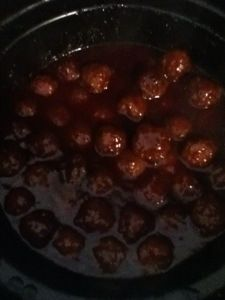 Crockpot meatballs - Chili sauce, grape jelly, Worcestershire sauce, and of course, meatballs. Easy!