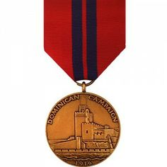 The Dominican Campaign Medal - Marine Corps was created on December 29th, 1921 to commemorate the service of members of the Navy and Marine Corps who served in the Dominican Republic from May 5th to December 4th, 1916. The Campaign was to provide protection for American and Haitian diplomatic personnel after the outbreak of political unrest in the area. There are no approved devices for the award, and was bestowed only once.