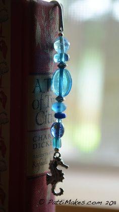 Blue Glass Beaded Seahorse BookMark