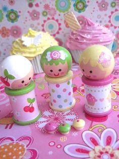 SpOOLiEs - Wooden Spool Dolls - CUPCAKE GIRLS Set of 3. $19.95, via Etsy.