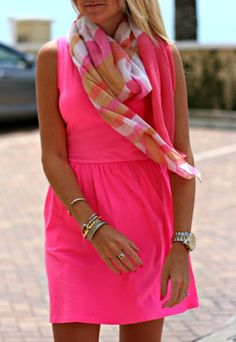 Bright pink with matching scarf