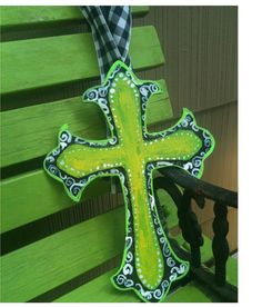 Customizable Wooden Cross Door Hanger by GooseyGooGifts on Etsy