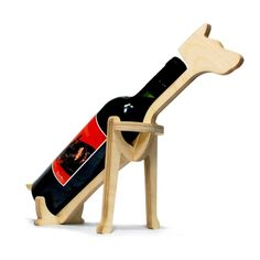 Dog plywood wine holder