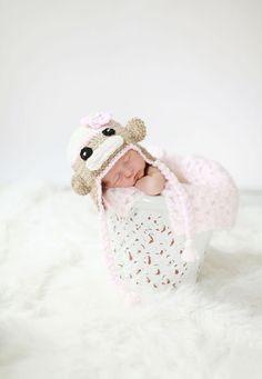 Crochet Girl Sock Monkey Hat