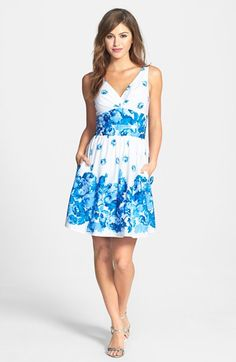 Betsey Johnson Print Stretch Cotton Poplin Fit & Flare Dress available at #Nordstrom