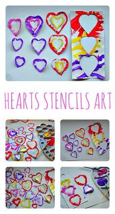 Valentine Art with heart stencils #valentine'sdayartprojects