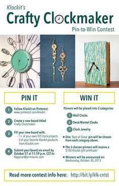 CONTEST announcement! Klockit's Crafty Clockmaker #pintowin contest has started. Enter to win a $100 Klockit gift certificate!