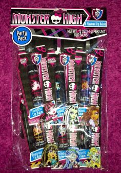 MONSTER HIGH Set Of 6 Lip Balms Perfect For Party Favors NEW