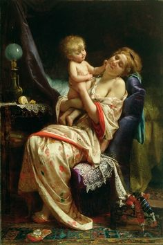 Maternity by Jean Leon Bazile Perrault (french painter)