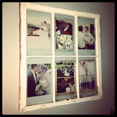I got this great idea and old window from a friend of mine.  Printed out pictures from our wedding and placed in the window panes.  Sanded the window frame to give it a distressed look. Hung on the wall over our bed.