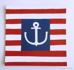 Stripes And Anchor Nautical Pin Board. by CamillaJeanne on Etsy