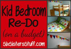 Kid Bedroom Re-do on a Budget- bunkbeds, duvets, paint, the works! All for less than $300. SixSistersStuff.com