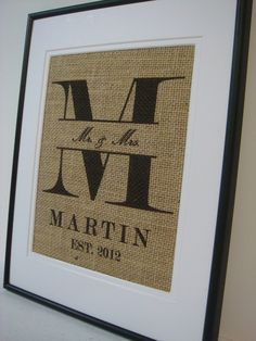 Personalized Name and Est. date Burlap Wedding Shower Anniversary Gift. $20.00, via Etsy.