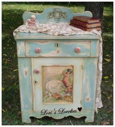 shabby, green ,vintage, cabinet ,cherub, painted,dresser,furniture ,transfer