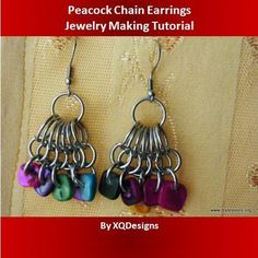 Free Jewelry Pattern: Peacock Chain Maille Earrings - These would be awesome to do with buttons on the bottom.