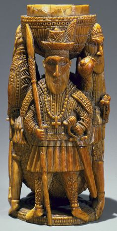 Saltcellar: Portuguese Figures, 15th–16th century Nigeria; Edo peoples, court of Benin Ivory