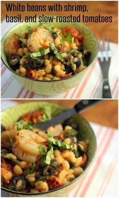 White beans with shrimp, basil, and slow-roasted (or sun-dried) tomatoes. #glutenfree