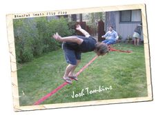 "Our lifestyle photographer, Josh - from Blue Lotus Photography.....working on the ""the leaning duck"" move on the slackline."