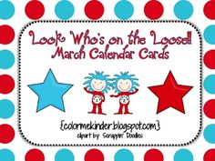 Here's a seussy themed calendar cards pack. Perfect to use with a Dr. Seuss or Read across America theme. I included extra calendar cover- ups if n...
