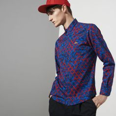 Navy/Red Bamboo Print Lacoste Live Skinny Fit Shirt