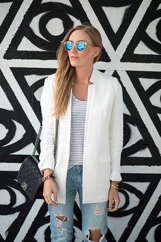 Casual and cool in a white blazer and destroyed denim.   Get this look at 1/4 of the coat with CAbi!   Www.debragrauss.cabionline.com