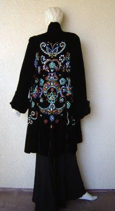 Norman Hartnell black velvet swing coat
