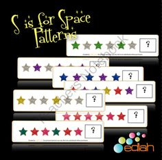 Space Patterning Cards from edlah Preschool Resources  on TeachersNotebook.com -  (7 pages)  - Brightly colored, glittery star pattern cards... Sure to get your preschooler/Kindergartener excited about patterning!