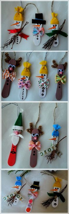 gift ideas, sticks, homemade christmas ornaments, snowman, decorations, kids, holiday crafts, cream, wooden spoons