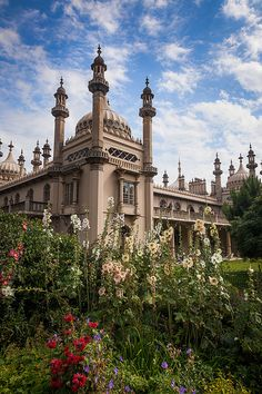 The Royal Pavilion gardens frame the magnificent building. The Royal Pavilion was built by the British in the Indo-Saracenic style prevalent in India for most of the 19th century.