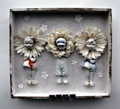 Antique Doll Mixed Media Shadow Box Assemblage by Studiomoonny
