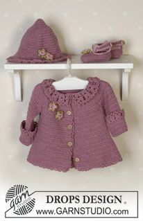 The set comprises: Cardigan, hat and shoes. ~ DROPS Design FREE pattern, scrummy! thanks so xox