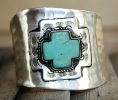 Rio Grande Silver Cross with Turquoise Cuff Bracelet  $46.95  http://www.giddyupglamouronline.com/catalog.php?item=6183