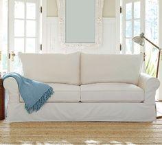 PB Comfort Roll Slipcovered Knife-Edge Cushion Sofa   Pottery Barn