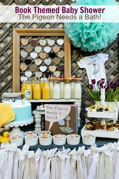 Book Themed Baby Shower: The Pigeon Needs a Bath #babyshower #thepigeonparty