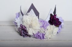 Purple Child's Fabric Crown, Ivory, Purple and Lavender, Cake Smash Hat