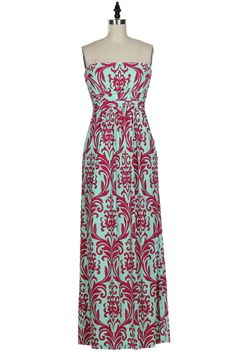 The Texas Cowgirl - Mint Pink Damask Strapless Maxi Dress,