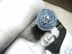 Lovely DENIM  ROSE  Barrette  Hair Fascinator  Eco Friendly  Upcycled 5.00