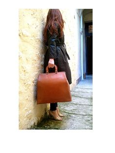 old french vintage TRAVEL BAG 40S real leather / by lesclodettes