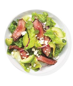 Steak Salad With Avocado and Onion Recipe from realsimple.com. #MyPlate #protein #vegetables