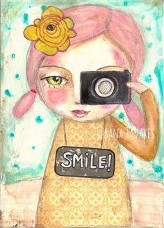 SMILE girl and photo camera wall art print