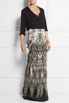Roberto Cavalli   Printed stretch-silk satin maxi skirt