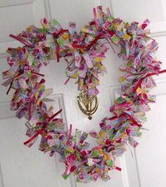 craft, valentine day, rag wreaths, front doors, ribbon wreaths