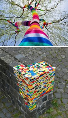 Knitting and lego street art?! Amazing..    www.junkfoodclothing.com