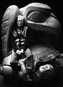 Bill Reid with sculpture