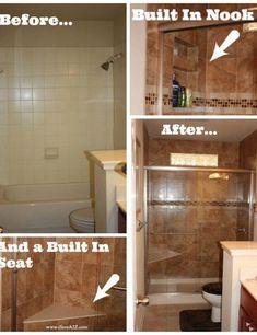 LOOK!  Our Bathroom Tub to Shower Remodel!! #remodel #Bathroom #beautiful
