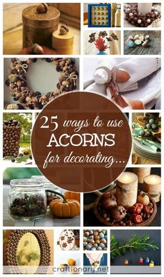 Make DIY acorn crafts for decorating home in Fall/ Autumn. These include tutorials on how to make acorn wreaths, jewelry, decorations, flowers, vases, paint